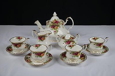 11 PCS ROYAL ALBERT OLD COUNTRY ROSES TEAPOT, CREAM, SUGAR, COFFEE CUPS, SAUCERS