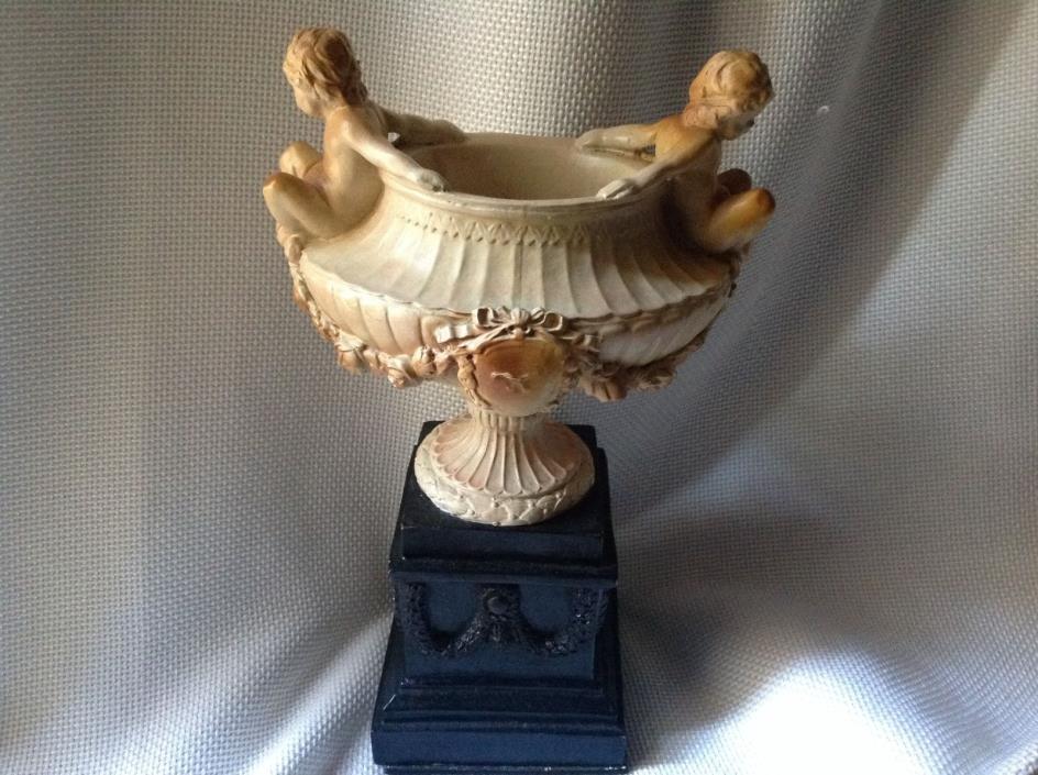 VTG Shabby Cherubs Barbola Roses Swags Bows Chalkware Urn Statue Pedestal