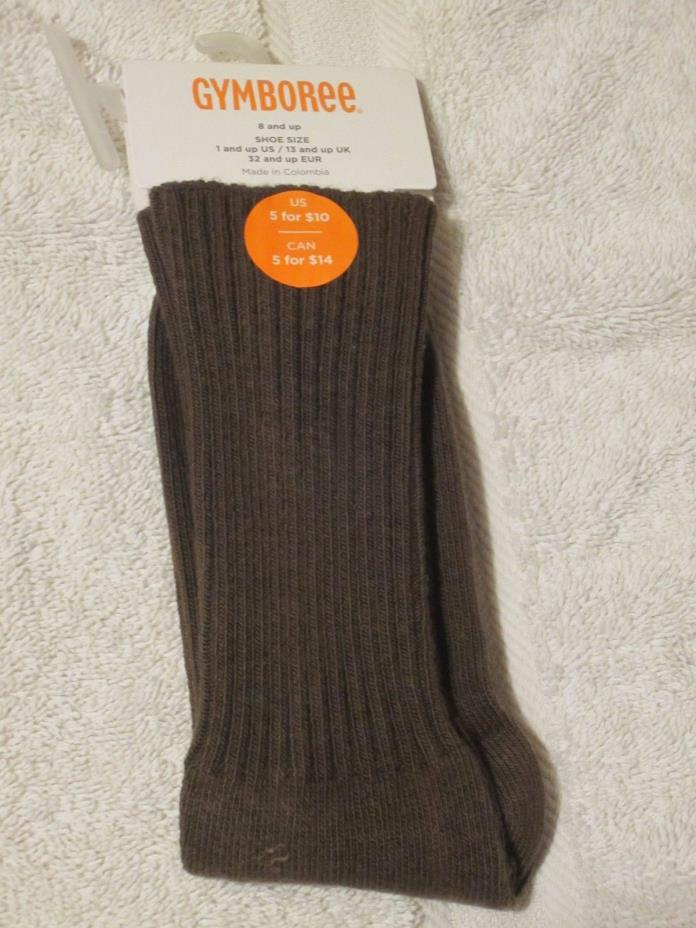 NWT GYMBOREE BOYS SOLID COLOR CREW SOCKS-SZ 3-4 OR 8 & UP-BROWN,MELON