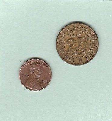 VINTAGE ARCADE TOKEN,25 CENTS COIN,PINBALL, VIDEO GAMES,AMUSEMENT