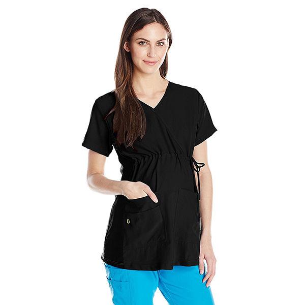 WonderWink Women's Maternity Scrub Top, Black, X-Large