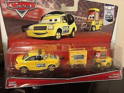Disney Cars Piston Cup Chief RPM & Petrol Pulaski pity race car