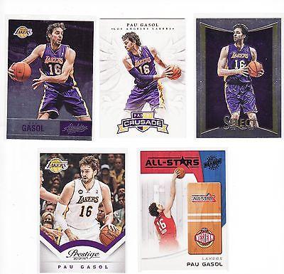 Pau Gasol lot 5 Lakers Panini Season Update, Absolute, Select, Prestige, Crusade