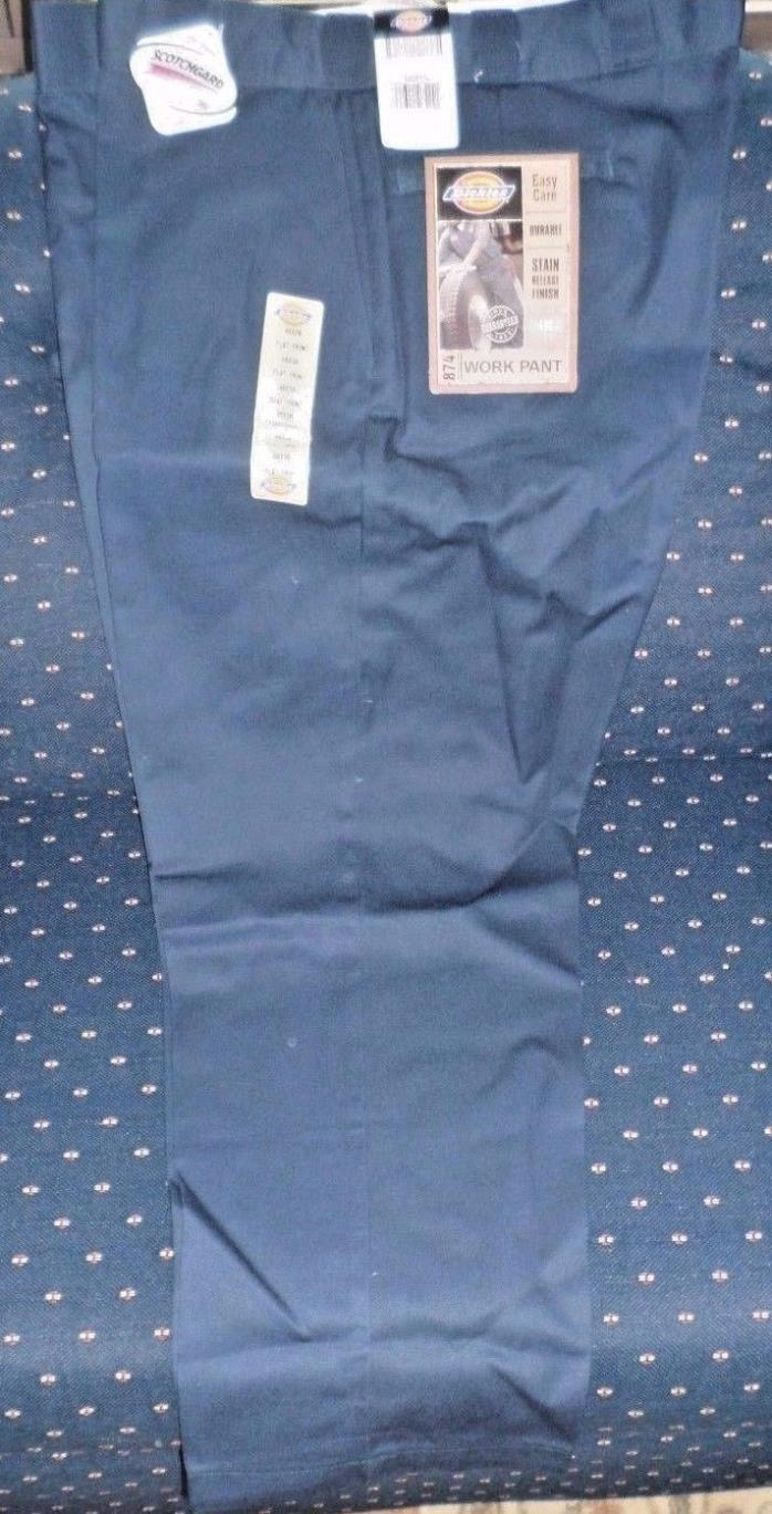 DICKIES Work Pant 874, Size 48x30, Dark Blue, Flat Front, Stain Release, NEW!