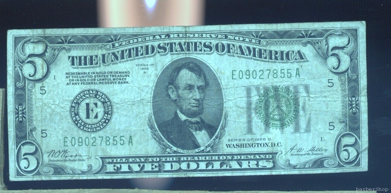 1928B $5 Federal Reserve Note RICHMOND F. No holes, tears or ink.  E09027855A