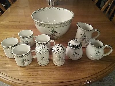 Holiday Collection Christmas  Serving Bowl, Mugs, Sugar, Creamer Set, Salt and P