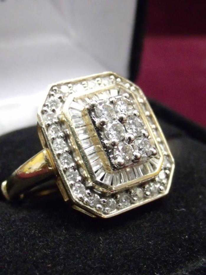 14K Yellow Gold 1TCW Diamond Ring Size 6.5 with Filigree Design