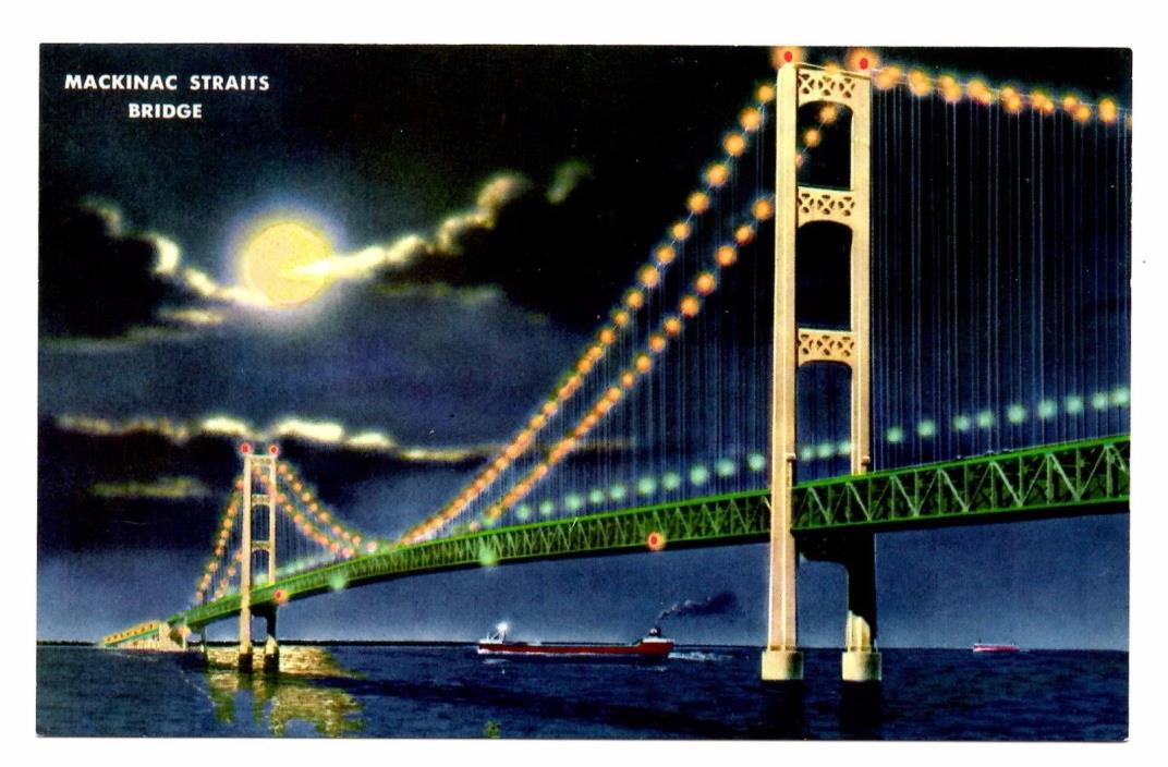 Mackinac Straits Bridge Postcard Michigan Longest Suspension Bridge Night Lights