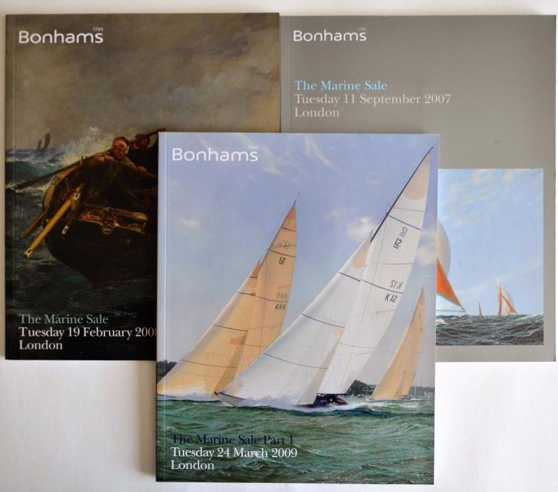 3 Bonhams Auction Catalogs Marine Sale 2007 2008 2009 Nautical ships paintings
