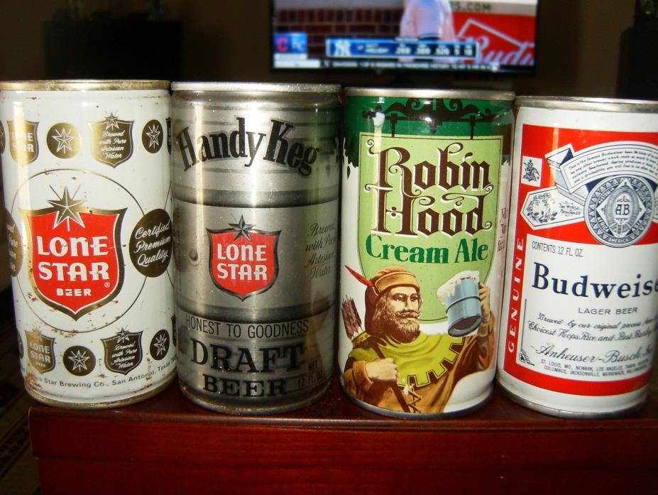4 VINTAGE 12 OZ CRIMPED STEEL BEER CANS:LONE STAR HANDY KEG ROBIN HOOD BUD  1977