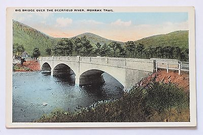 Old postcard BIG BRIDGE OVER THE DEERFIELD RIVER BERKSHIRE HILLS MOHAWK TRAIL MA