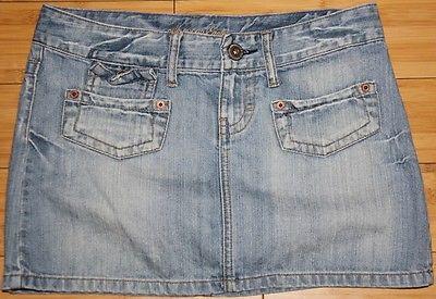 American Eagle Light Blue Denim Jean Distressed Flap Pocket Mini Skirt Size 2