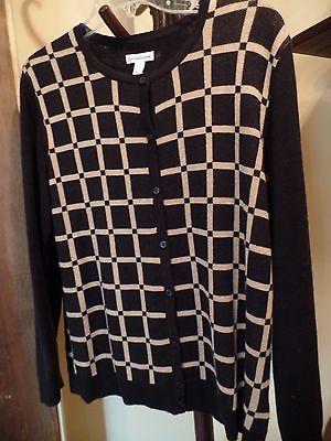 Croft&Barrow Women's PL Button Down Cardigan, Black/Tan Squares/Long Sleeve