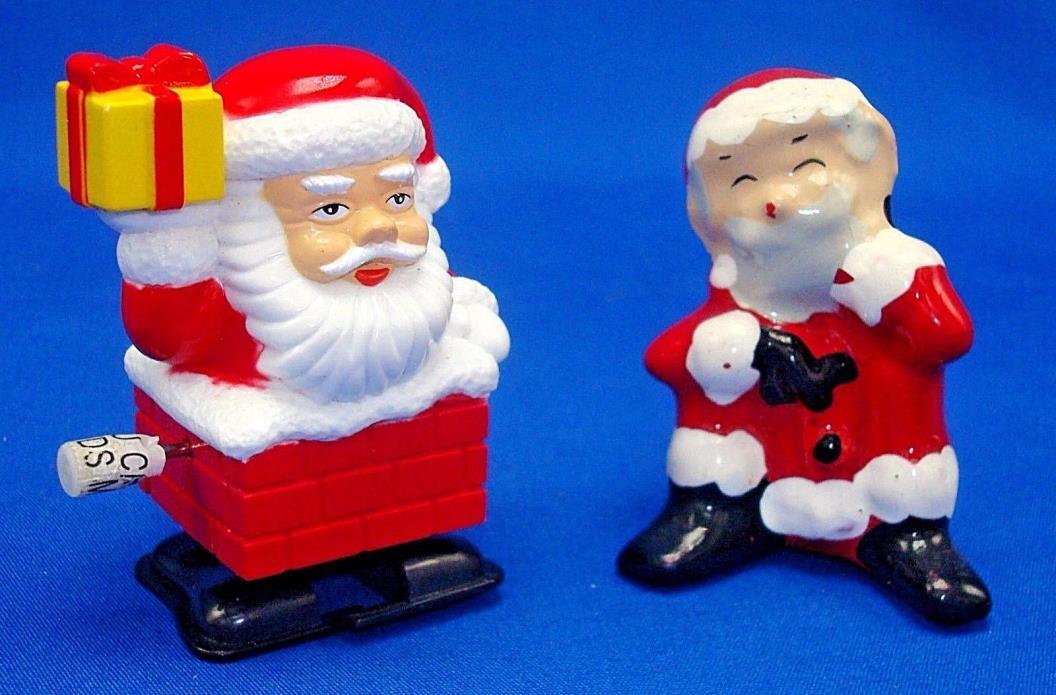 windup walking Santa Claus & vintage Christmas ceramic Sitting St Nick