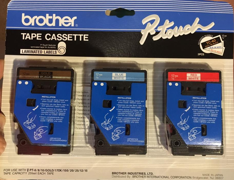 Brother P-touch 3-pack Tc-40 1/2in 12mm Gold on Black & Red &  Blue On White