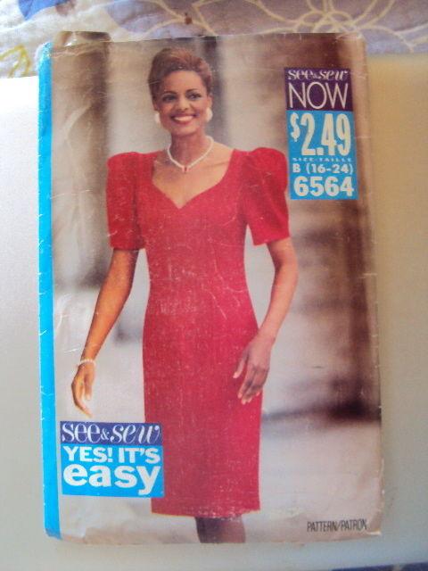 Butterick Miss Dress Pattern 6564 UNCUT 16-24  Vintage Free Shipping