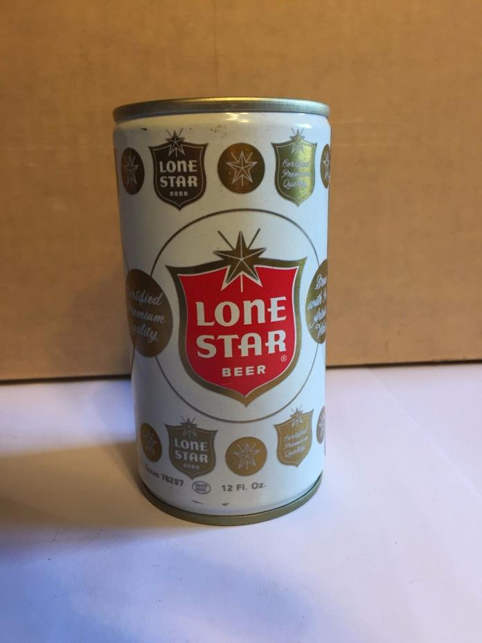 LONE STAR CRIMPED STEEL PULL TAB BEER CAN 70's  - Bottom opened