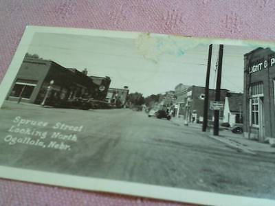 SPRUCE ST. LOOKING NORTH OGALLALA NEBRASKA RPPC PHOTO POSTCARD POSTED 1949 AS IS