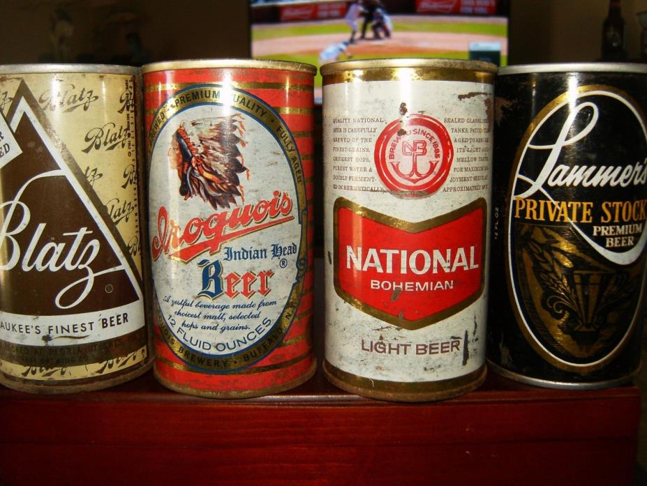 4 VINTAGE 12 OZ. STRAIGHT STEEL BEER CANS: BLATZ   IROQUOIS  NATIONAL   LAMMER'S
