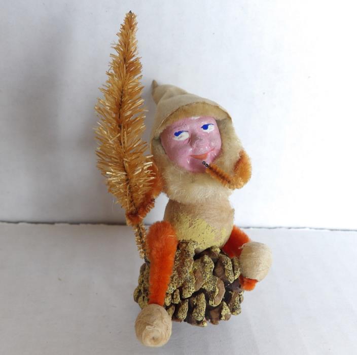 Antique/Vintage Christmas Pinecone Pixie Elf/Gnome Figure/Decoration