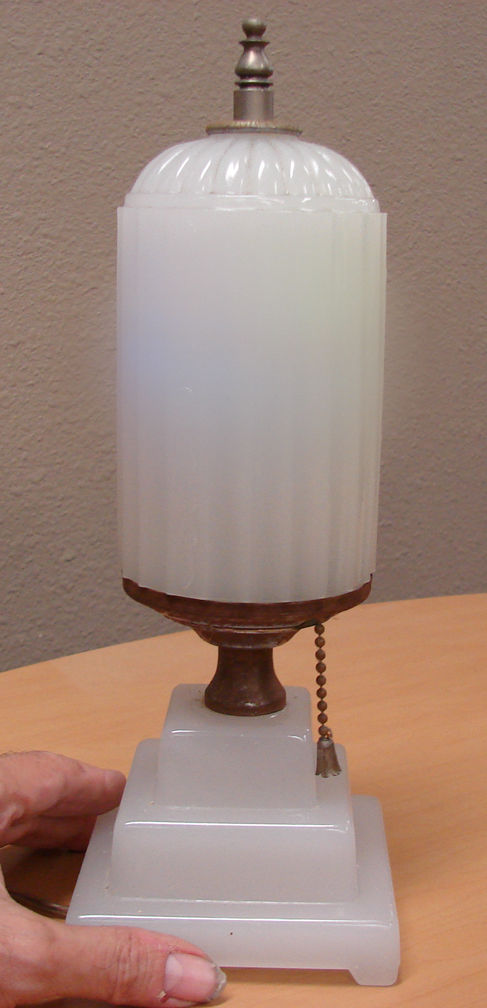 ART DECO GLASS LAMP with GLASS SHADE & GLASS BASE