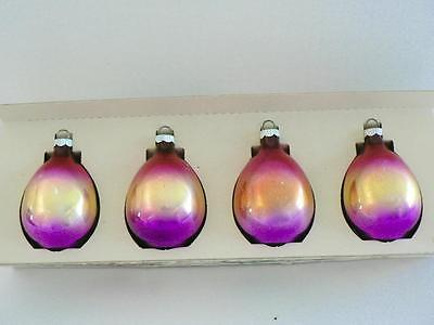4 SHINY BRITE RAINBOW OMBRE DROPLET TEARDROP PURPLE PINK  CHRISTMAS ORNAMENTS