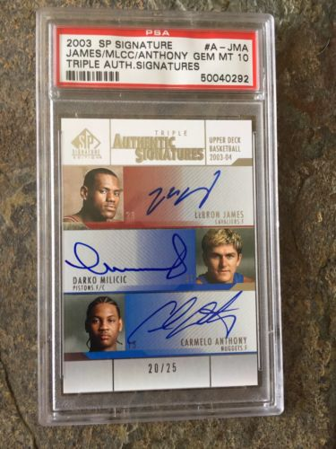 03-04 SP Authentic Triple Auto 20/25 Lebron James/Milicic/Carmelo Anthony Gem 10