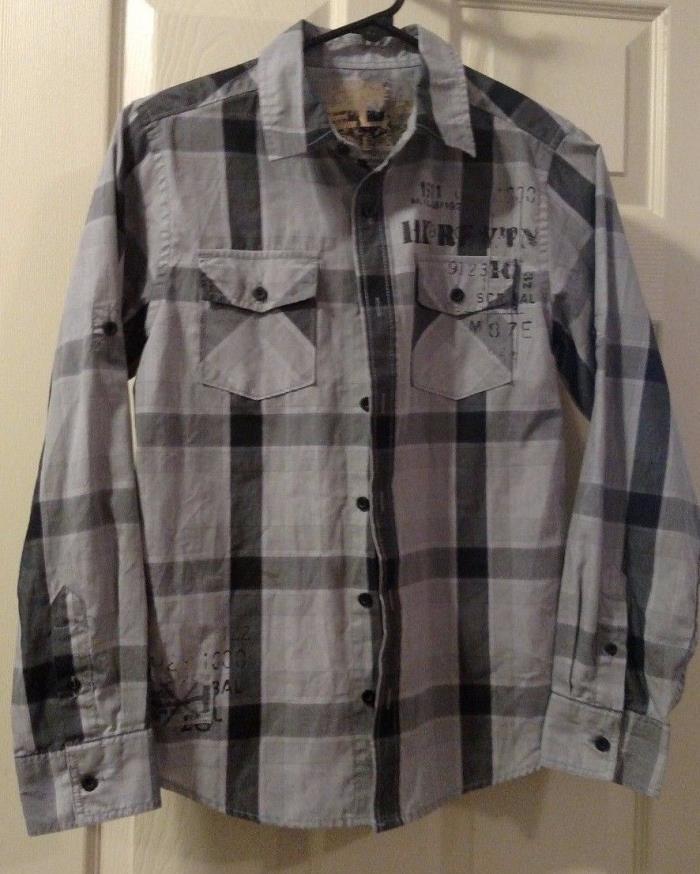 EUC Helix Boys Size Large Gray & Black Long Sleeve Button Up Shirt