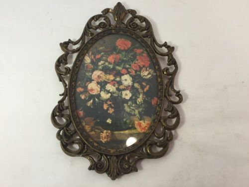 Vintage Ornate Brass Framed Glass Floral Pictures Made In ???? Italy