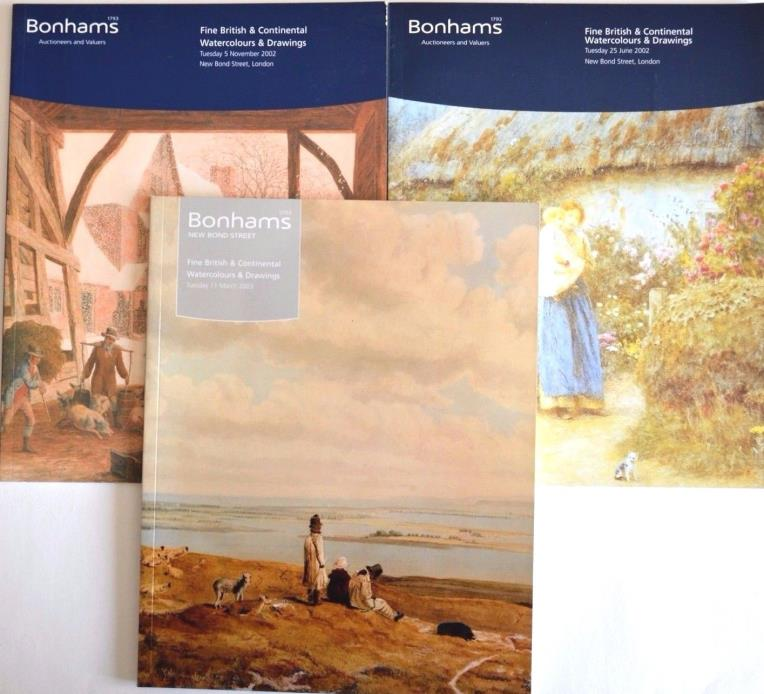 3 Bonhams Auction Catalogs Fine British continental watercolours drawings 2002-3