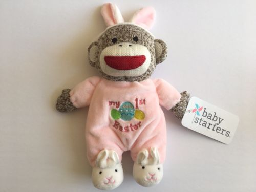 Baby Starters MY FIRST EASTER Monkey Rattle Plush Baby Toy Pink Girls NEW