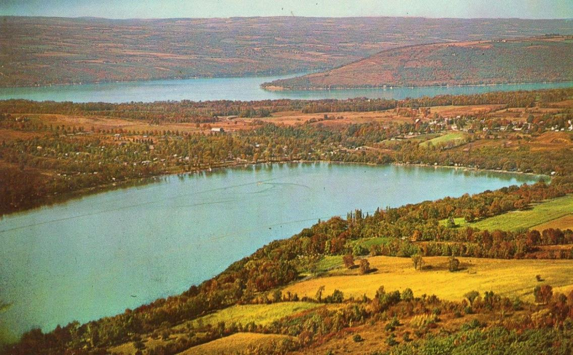 View of Buff Point, NY (New York) from Waneta - Lamoka Lakes unused