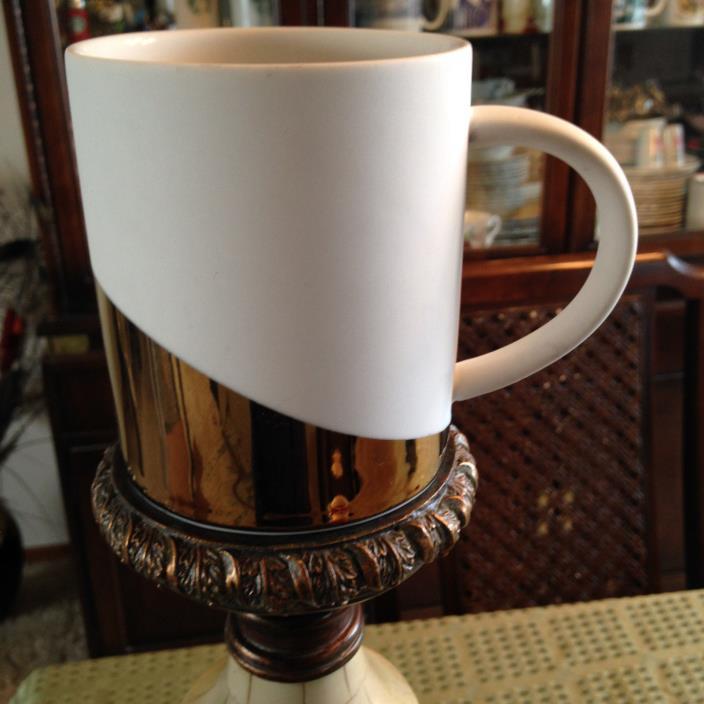 Starbucks Coffee Mug White Gold Asymmetrical Design 14 OZ 2012