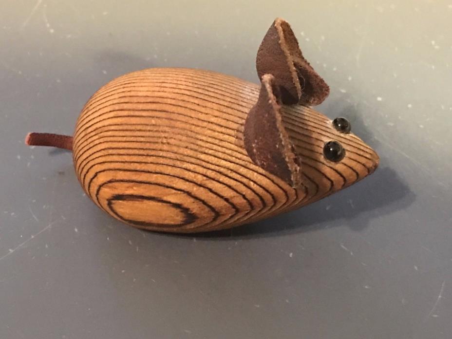Vintage Mid Century Wood Mouse  Magnet