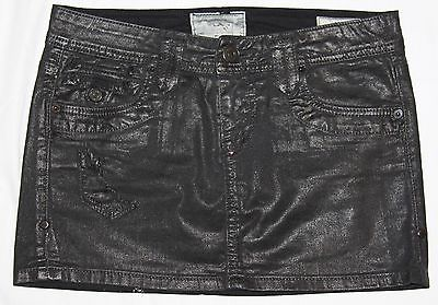 TAVERNITI SO Jeans Distressed Punk Rocker Disco Black Denim Janis Mini Skirt 24