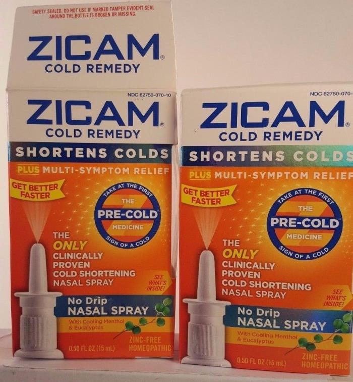 2 Zicam Cold Remedy No Drip Nasal Spray Shortens Multi-Symptom Relief X 07/17