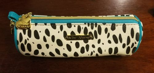 Betsy Johnson Faux Leather Make Up Case-Black White Animal Print Turquoise Trim