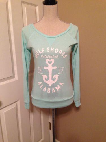 Surf Style Gulf Shores Alabama Aqua Blue Long Sleeve T-shirt Size M