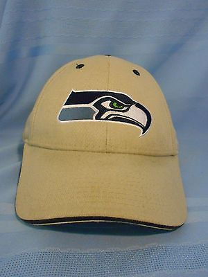 Seahawks Baseball Hat Embroidered Logo NFL Tan 100% Cotton