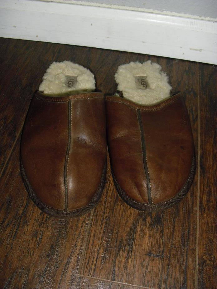 UGG Australia 5173 Sheepskin Lined Leather Scuff Slippers Brown Men's 10 M