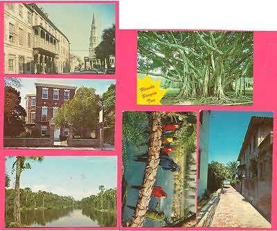 Postcards Russell House, Charleston SC, St Augustine, FL & Sanibel Is.