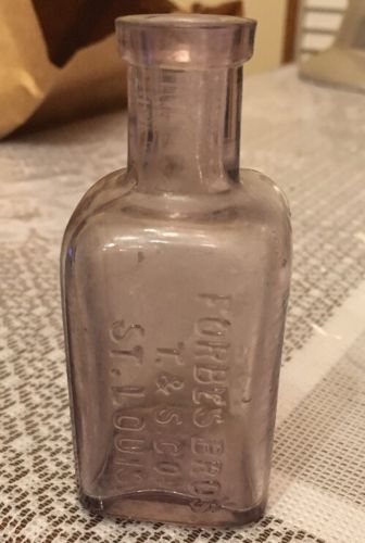 Vintage Lavender Glass Bottle Forbes Bros. T&S Co. Saint Louis