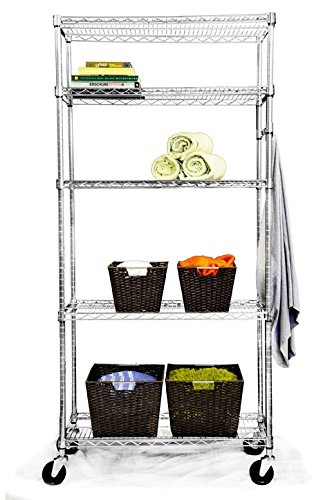 5-Tier Wire Shelving Rack With Wheels Heavy-Duty Commercial Shelf Organization