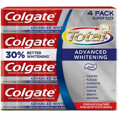 Colgate Total Advanced Whitening Toothpaste, 4-count, 8 oz.