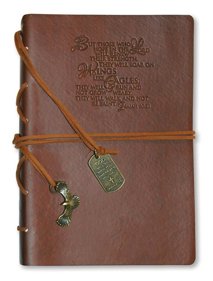 Christian Leather Journal Eagle Charm Wings Like Eagles Diary Notebook Bookmark