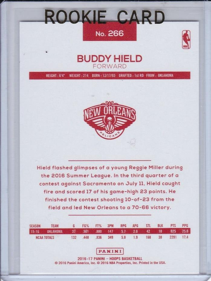 2016-17 PANINI NBA HOOPS BUDDY HIELD RED BACK ROOKIE RC #266 OKLAHOMA KINGS SP