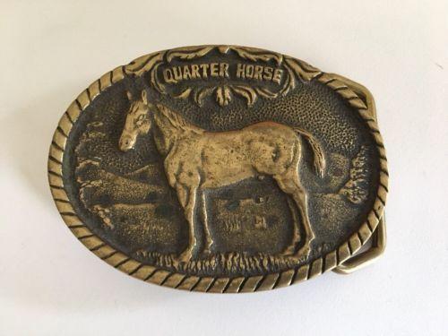 Vintage Brass Horse Print Belt Buckle Western Wear Men's Women's Rodeo Cowboy