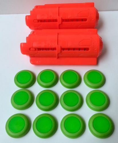 Nerf Vortex 10 Disc Ammo Clip Magazine Cartridge Set Of 2 With 12 Discs