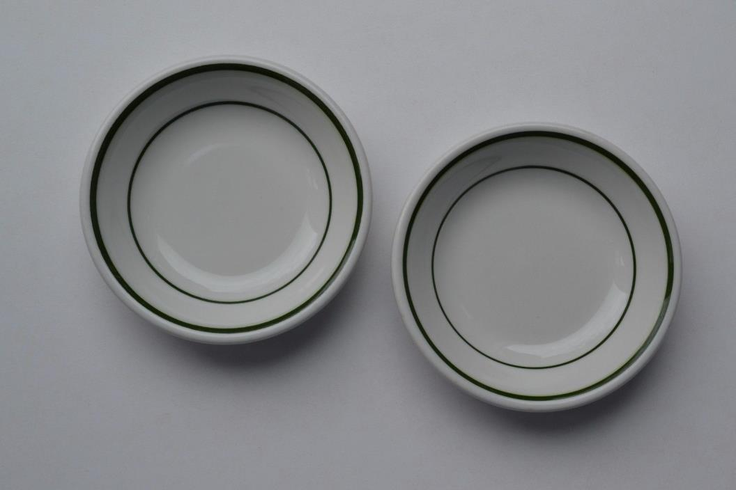 LAWRENCE CHINA RESTAURANT WARE ~ Green Band Stripe Fruit Dessert Bowl PAIR