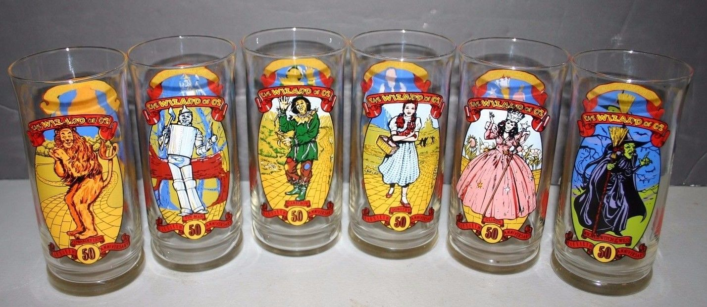Wizard Of Oz Glasses - Set of 6 - 1989 Coca Cola